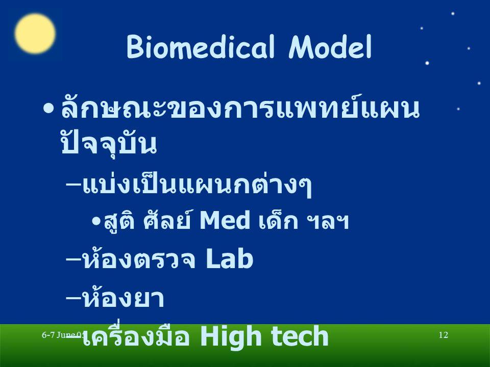 6-7 June 0512 Biomedical Model ลักษณะของการแพทย์แผน ปัจจุบัน – แบ่งเป็นแผนกต่างๆ สูติ ศัลย์ Med เด็ก ฯลฯ – ห้องตรวจ Lab – ห้องยา – เครื่องมือ High tech