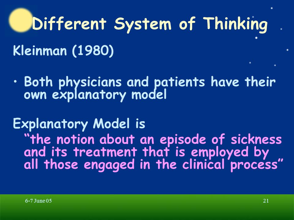 6-7 June 0521 Different System of Thinking Kleinman (1980) Both physicians and patients have their own explanatory model Explanatory Model is the notion about an episode of sickness and its treatment that is employed by all those engaged in the clinical process