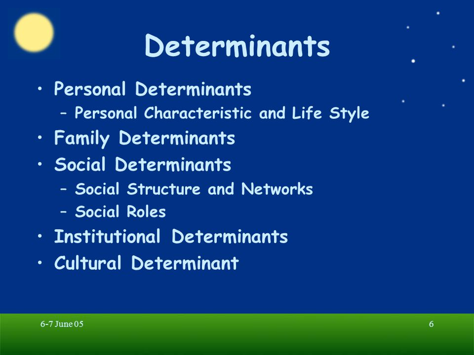 6-7 June 056 Determinants Personal Determinants –Personal Characteristic and Life Style Family Determinants Social Determinants –Social Structure and Networks –Social Roles Institutional Determinants Cultural Determinant