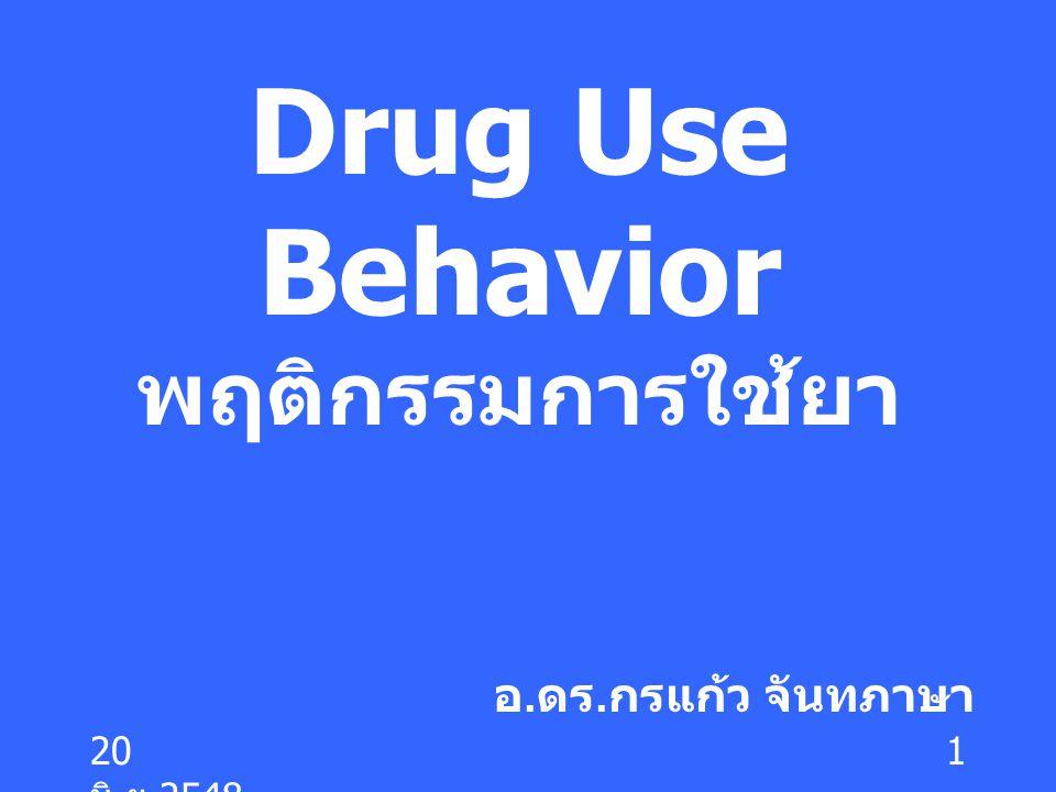 20 มิ. ย.2548 1 Drug Use Behavior พฤติกรรมการใช้ยา อ. ดร. กรแก้ว จันทภาษา