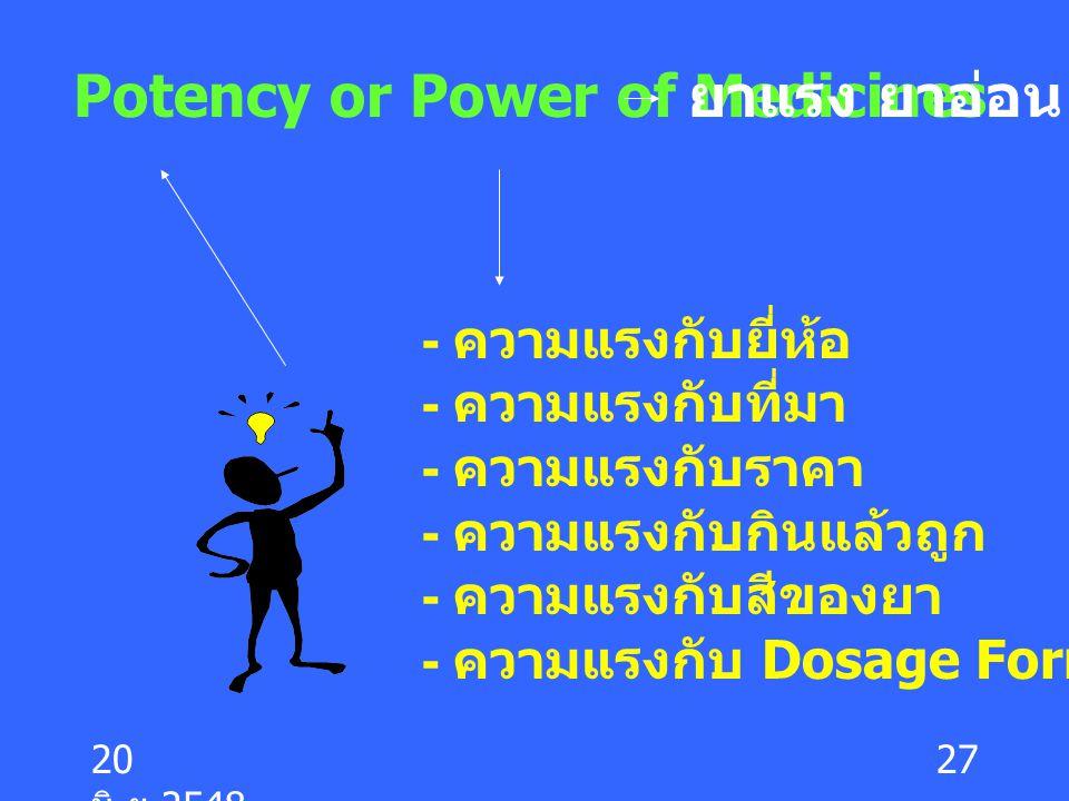 20 มิ. ย.2548 27 - ความแรงกับยี่ห้อ - ความแรงกับที่มา - ความแรงกับราคา - ความแรงกับกินแล้วถูก - ความแรงกับสีของยา - ความแรงกับ Dosage Form Potency or