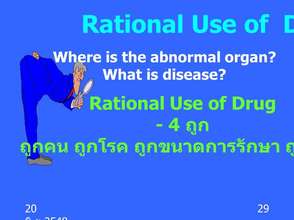 20 มิ. ย.2548 29 Rational Use of Drug Where is the abnormal organ? What is disease? Rational Use of Drug - 4 ถูก ถูกคน ถูกโรค ถูกขนาดการรักษา ถูกเวลา