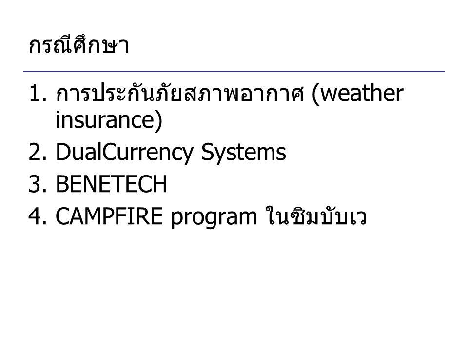 กรณีศึกษา 1.การประกันภัยสภาพอากาศ (weather insurance) 2.DualCurrency Systems 3.BENETECH 4.CAMPFIRE program ในซิมบับเว