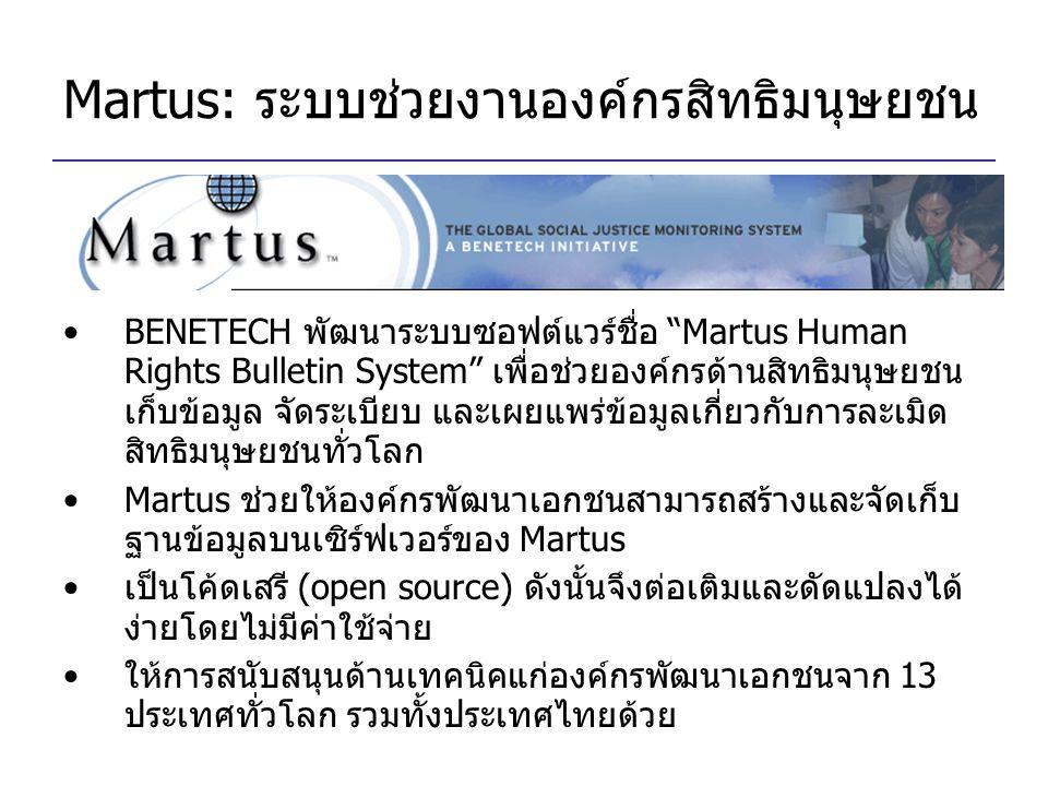 "Martus: ระบบช่วยงานองค์กรสิทธิมนุษยชน BENETECH พัฒนาระบบซอฟต์แวร์ชื่อ ""Martus Human Rights Bulletin System"" เพื่อช่วยองค์กรด้านสิทธิมนุษยชน เก็บข้อมูล"