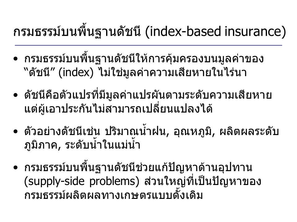 """กรมธรรม์บนพื้นฐานดัชนี (index-based insurance) กรมธรรม์บนพื้นฐานดัชนีให้การคุ้มครองบนมูลค่าของ """"ดัชนี"""" (index) ไม่ใช่มูลค่าความเสียหายในไร่นา ดัชนีคือ"""
