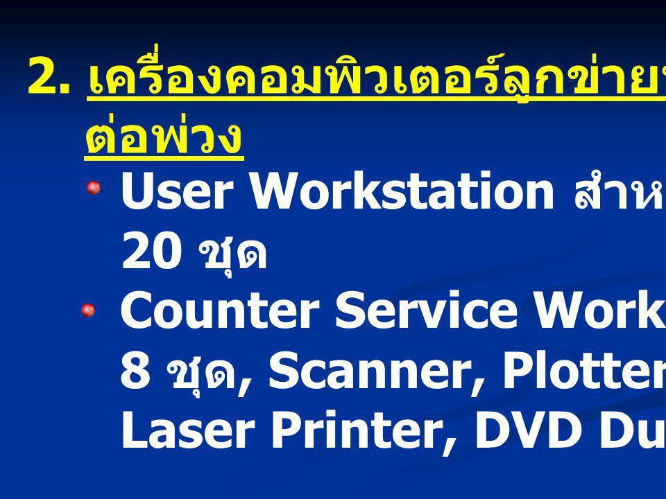 2. เครื่องคอมพิวเตอร์ลูกข่ายพร้อมอุปกรณ์ ต่อพ่วง User Workstation สำหรับปฏิบัติงาน 20 ชุด Counter Service Workstation 8 ชุด, Scanner, Plotter, Color L