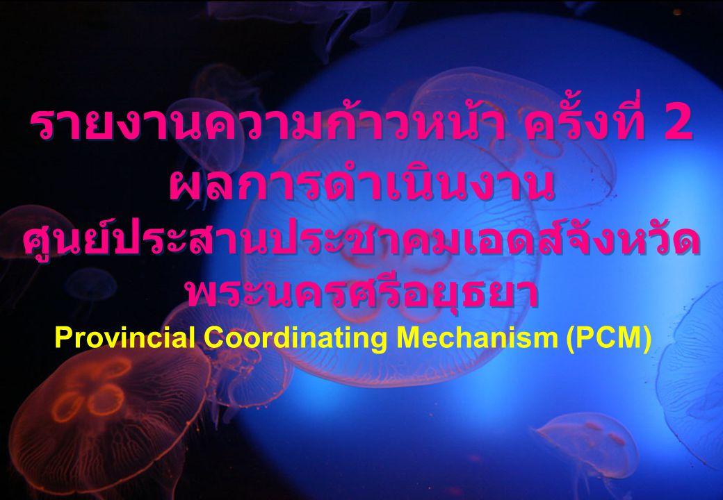 รายงานความก้าวหน้า ครั้งที่ 2 ผลการดำเนินงาน ศูนย์ประสานประชาคมเอดส์จังหวัด พระนครศรีอยุธยา Provincial Coordinating Mechanism (PCM)