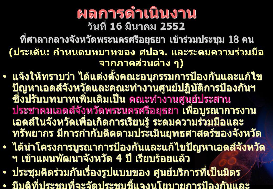ผลการดำเนินงาน วันที่ 16 มีนาคม 2552 ที่ศาลากลางจังหวัดพระนครศรีอยุธยา เข้าร่วมประชุม 18 คน ( ประเด็น : กำหนดบทบาทของ ศปอจ.
