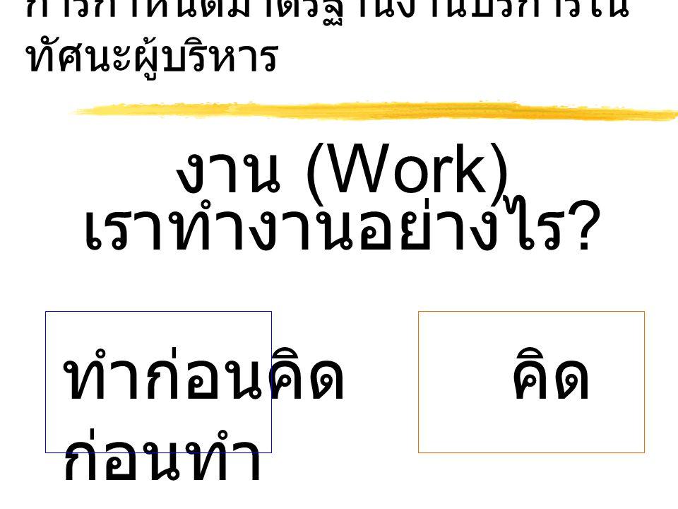 การกำหนดมาตรฐานงานบริการใน ทัศนะผู้บริหาร งาน (Work) เราทำงานอย่างไร ? ทำก่อนคิดคิด ก่อนทำ
