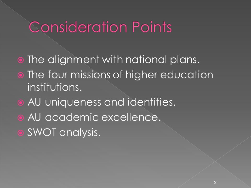  The alignment with national plans.  The four missions of higher education institutions.