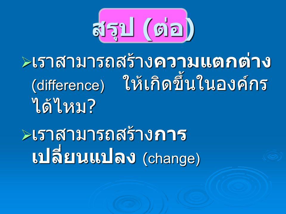 สรุป ( ต่อ )  เราสามารถสร้างความแตกต่าง (difference) ให้เกิดขึ้นในองค์กร ได้ไหม ?  เราสามารถสร้างการ เปลี่ยนแปลง (change)