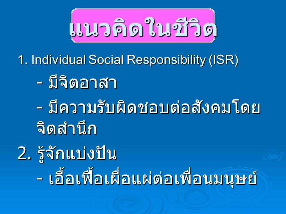 แนวคิดในชีวิต 1. Individual Social Responsibility (ISR) - มีจิตอาสา - มีความรับผิดชอบต่อสังคมโดย จิตสำนึก 2. รู้จักแบ่งปัน - เอื้อเฟื้อเผื่อแผ่ต่อเพื่