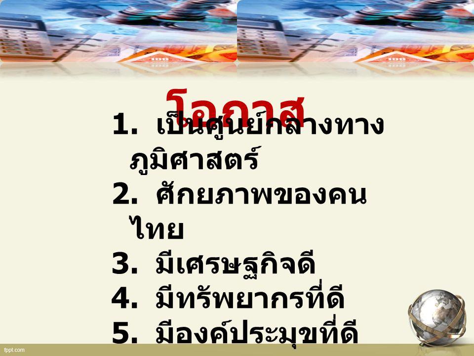 โอกาส 1. เป็นศูนย์กลางทาง ภูมิศาสตร์ 2. ศักยภาพของคน ไทย 3. มีเศรษฐกิจดี 4. มีทรัพยากรที่ดี 5. มีองค์ประมุขที่ดี