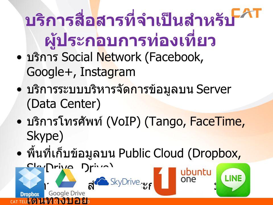 บริการสื่อสารที่จำเป็นสำหรับ ผู้ประกอบการท่องเที่ยว บริการ Social Network (Facebook, Google+, Instagram บริการระบบบริหารจัดการข้อมูลบน Server (Data Center) บริการโทรศัพท์ (VoIP) (Tango, FaceTime, Skype) พื้นที่เก็บข้อมูลบน Public Cloud (Dropbox, SkyDrive, Drive) บริการ VPN สำหรับผู้ประกอบการที่ต้อง เดินทางบ่อย บริการ WiFi สำหรับผู้ใช้บริการ