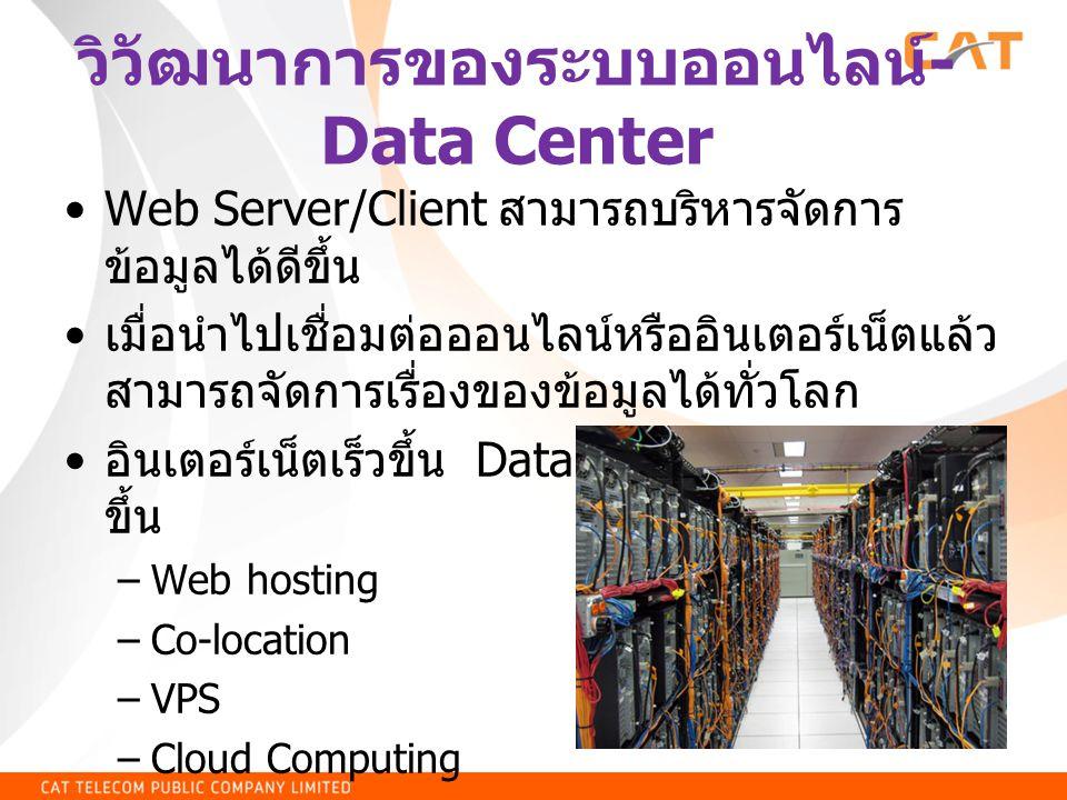 วิวัฒนาการของระบบออนไลน์ - Data Center Web Server/Client สามารถบริหารจัดการ ข้อมูลได้ดีขึ้น เมื่อนำไปเชื่อมต่อออนไลน์หรืออินเตอร์เน็ตแล้ว สามารถจัดการเรื่องของข้อมูลได้ทั่วโลก อินเตอร์เน็ตเร็วขึ้น Data Center พัฒนามาก ขึ้น –Web hosting –Co-location –VPS –Cloud Computing