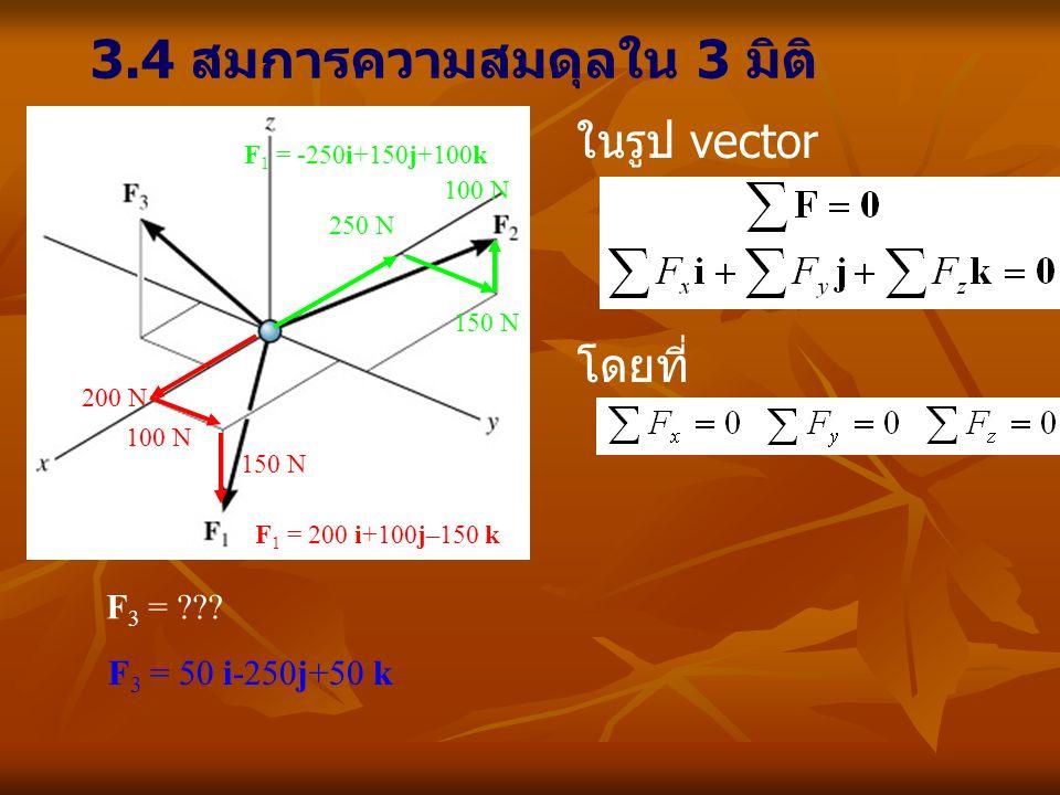 3.4 สมการความสมดุลใน 3 มิติ ในรูป vector โดยที่ 200 N 100 N 150 N F 1 = 200 i+100j–150 k 150 N 250 N 100 N F 1 = -250i+150j+100k F 3 = ??? F 3 = 50 i-