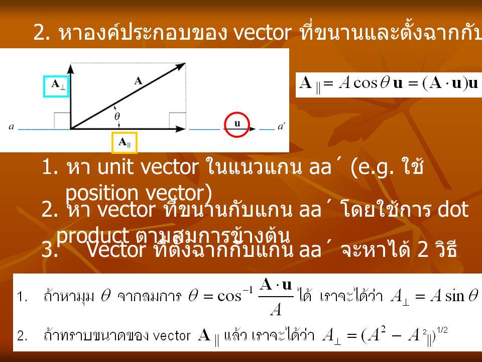 2. หาองค์ประกอบของ vector ที่ขนานและตั้งฉากกับเส้นตรงเส้นหนึ่ง 2. หา vector ที่ขนานกับแกน aa´ โดยใช้การ dot product ตามสมการข้างต้น 3. Vector ที่ตั้งฉ