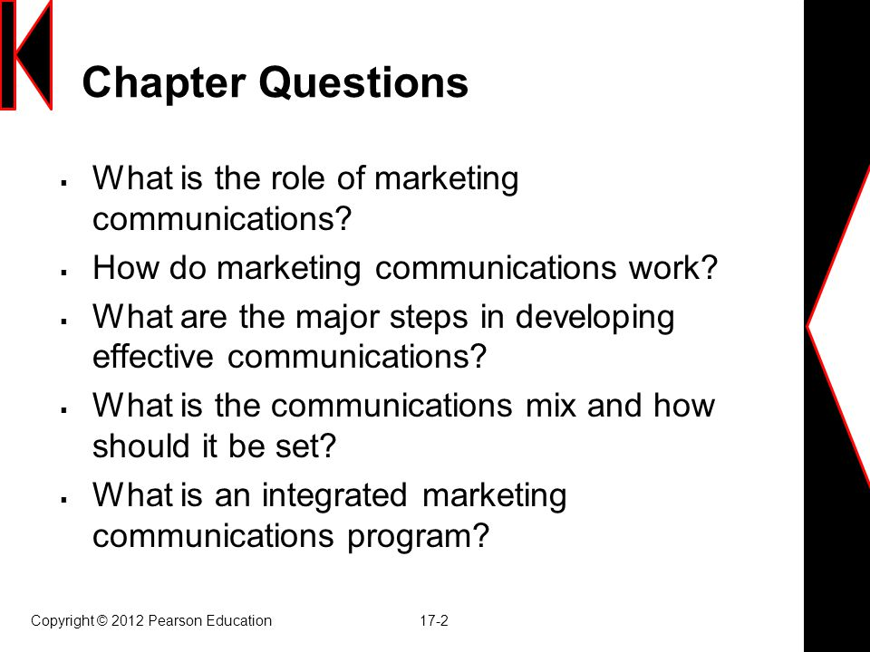 Chapter Questions  What is the role of marketing communications.