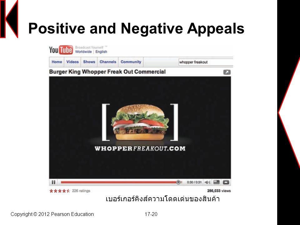 Positive and Negative Appeals Copyright © 2012 Pearson Education 17-20 เบอร์เกอร์คิงส์ความโดดเด่นของสินค้า