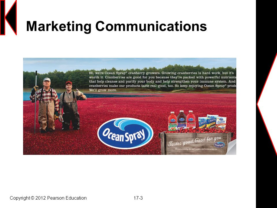 Copyright © 2012 Pearson Education 17-4 Modes of Marketing Communications  Advertising  Sales promotion  Events and experiences  เหตุการณ์และ ประสบการณ์  Public relations and publicity  Direct marketing  Interactive marketing  การตลาดเชิงตอบโต้  Word-of-mouth marketing (BUZZ)  Personal selling