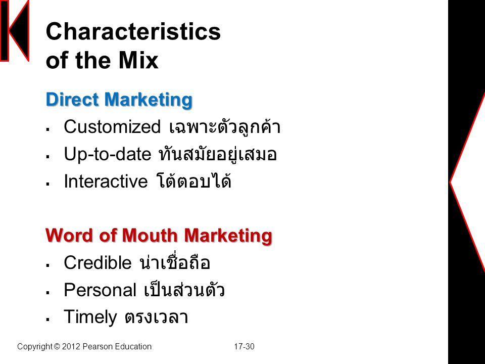 Characteristics of the Mix Direct Marketing  Customized เฉพาะตัวลูกค้า  Up-to-date ทันสมัยอยู่เสมอ  Interactive โต้ตอบได้ Word of Mouth Marketing 