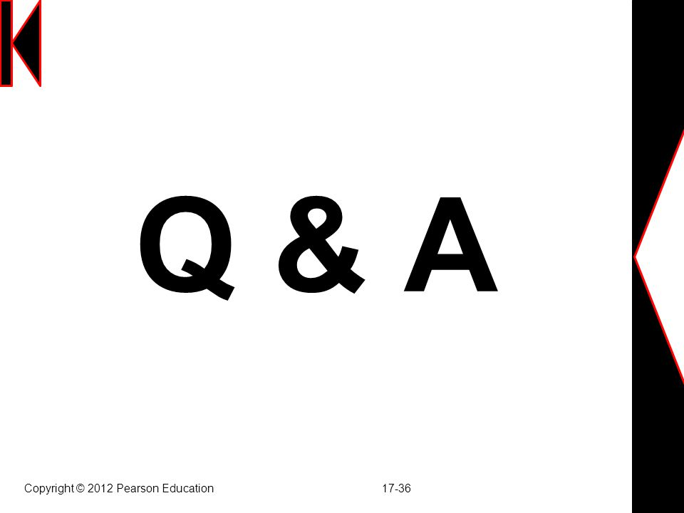 Q & A Copyright © 2012 Pearson Education 17-36