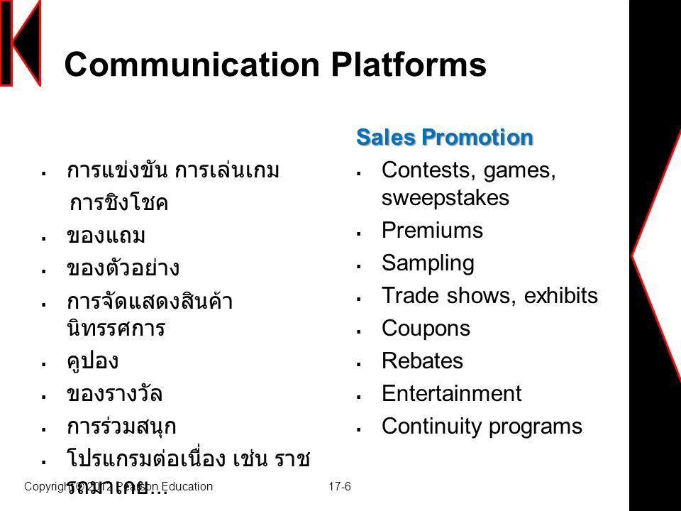 Communication Platforms  การแข่งขัน การเล่นเกม การชิงโชค  ของแถม  ของตัวอย่าง  การจัดแสดงสินค้า นิทรรศการ  คูปอง  ของรางวัล  การร่วมสนุก  โปรแ