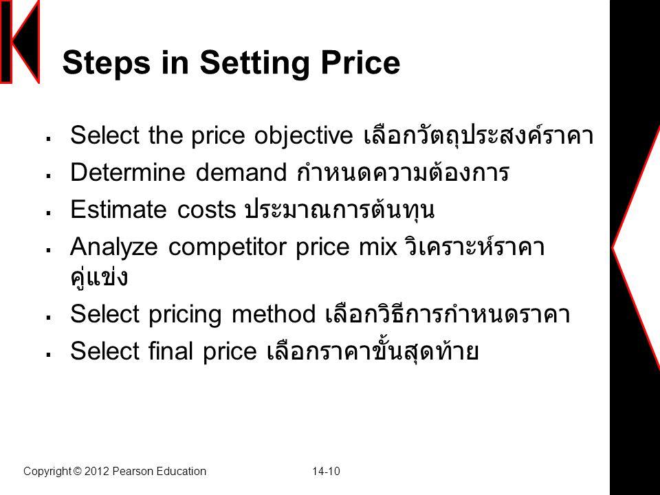 Copyright © 2012 Pearson Education 14-10 Steps in Setting Price  Select the price objective เลือกวัตถุประสงค์ราคา  Determine demand กำหนดความต้องการ  Estimate costs ประมาณการต้นทุน  Analyze competitor price mix วิเคราะห์ราคา คู่แข่ง  Select pricing method เลือกวิธีการกำหนดราคา  Select final price เลือกราคาขั้นสุดท้าย