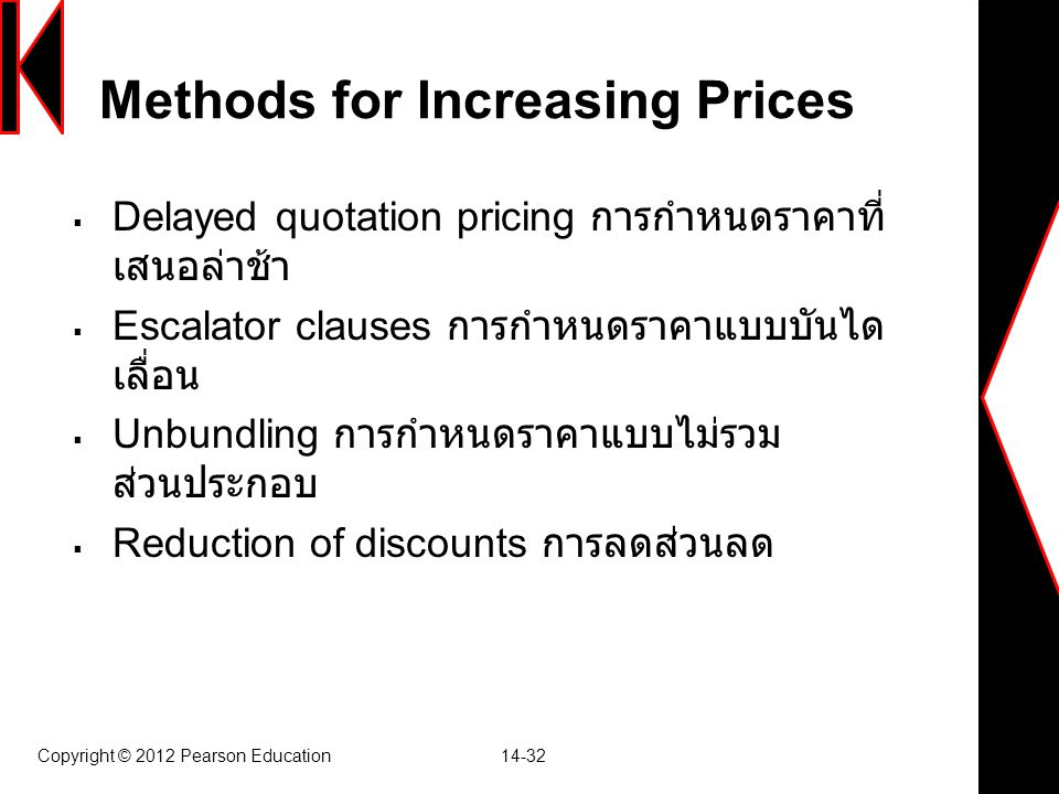 Copyright © 2012 Pearson Education 14-32 Methods for Increasing Prices  Delayed quotation pricing การกำหนดราคาที่ เสนอล่าช้า  Escalator clauses การก