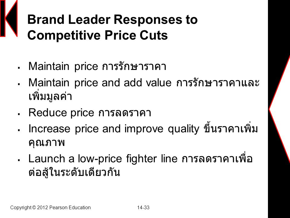Copyright © 2012 Pearson Education 14-33 Brand Leader Responses to Competitive Price Cuts  Maintain price การรักษาราคา  Maintain price and add value