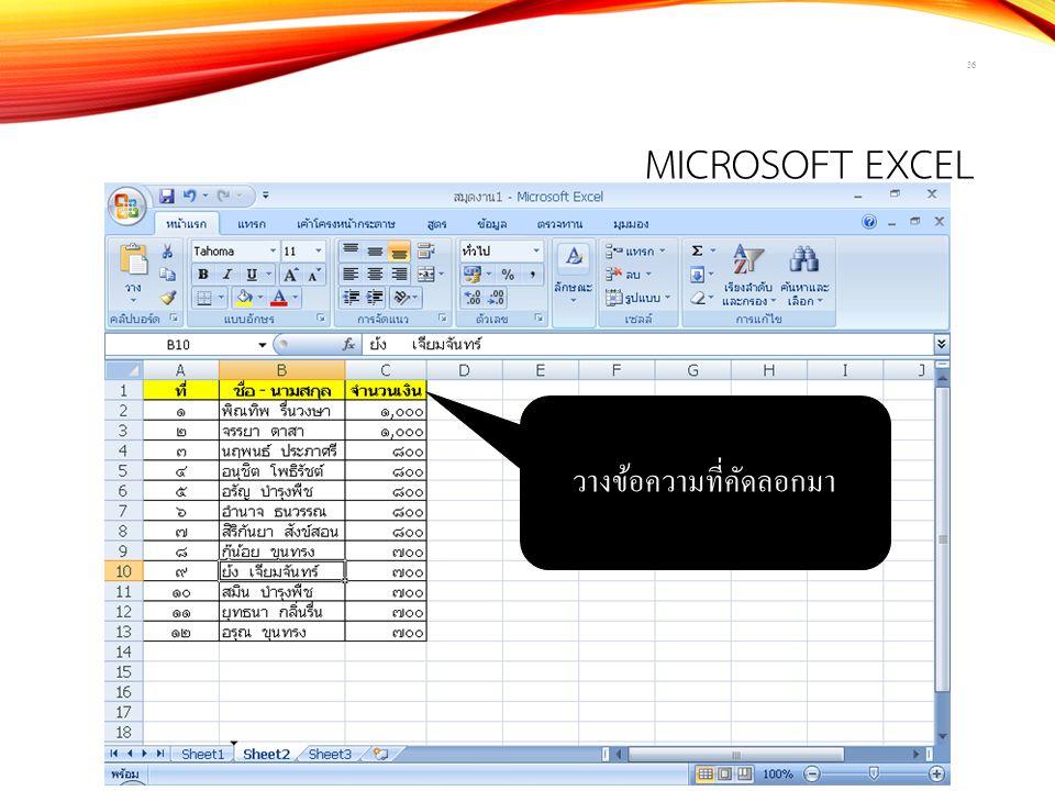 MICROSOFT EXCEL 36 วางข้อความที่คัดลอกมา