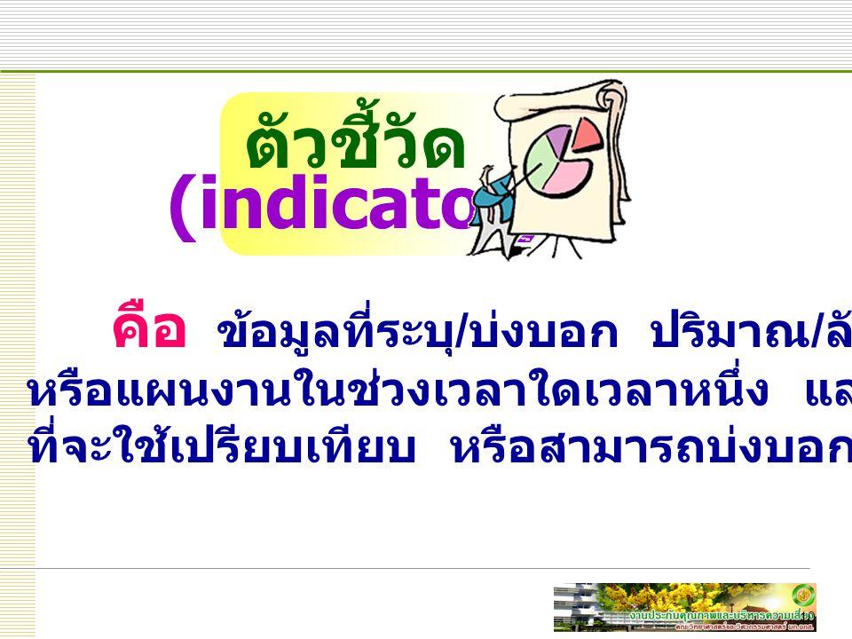 10 คือ ข้อมูลที่ระบุ / บ่งบอก ปริมาณ / ลักษณะของโครงการ หรือแผนงานในช่วงเวลาใดเวลาหนึ่ง และมีความชัดเจนเพียงพอ ที่จะใช้เปรียบเทียบ หรือสามารถบ่งบอกการเปลี่ยนแปลงได้ ตัวชี้วัด (indicator)