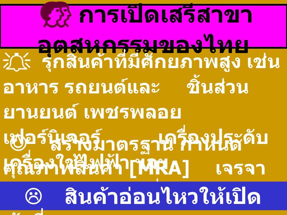  การเปิดเสรีสาขา อุตสหกรรมของไทย  รุกสินค้าที่มีศักยภาพสูง เช่น อาหาร รถยนต์และ ชิ้นส่วน ยานยนต์ เพชรพลอย เฟอร์นิเจอร์ เครื่องประดับ เครื่องใช้ไฟฟ้า ฯลฯ สร้างมาตรฐาน กำหนด คุณภาพสินค้า [MRA] เจรจา ยกเลิกการกีดกันที่เป็นอุปสรรค  สินค้าอ่อนไหวให้เปิด ช้าที่สุด