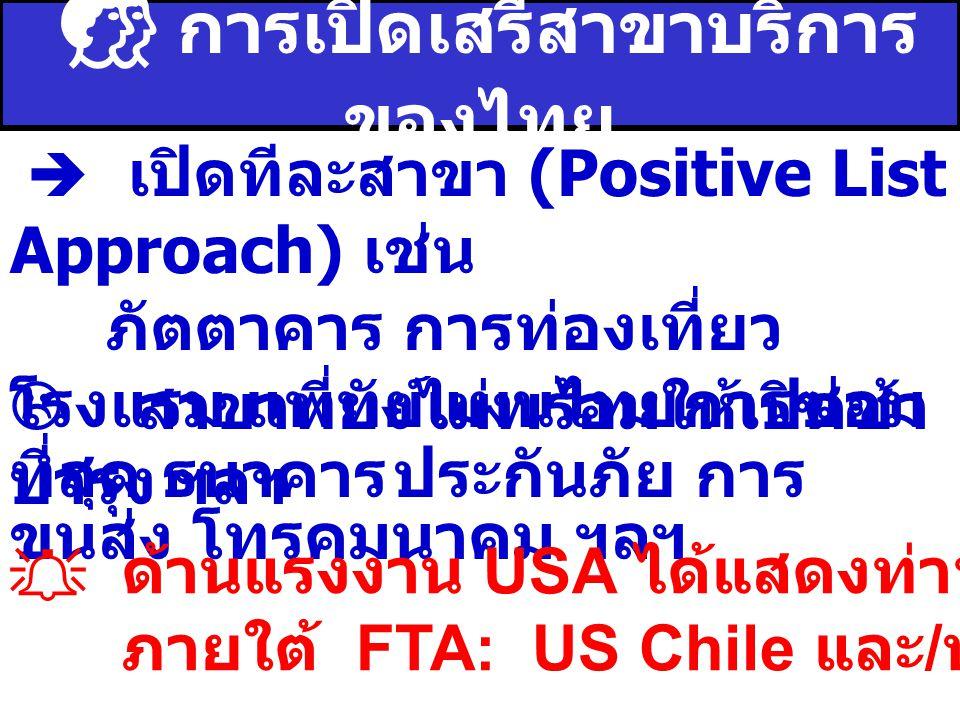  การเปิดเสรีสาขาบริการ ของไทย  เปิดทีละสาขา (Positive List Approach) เช่น ภัตตาคาร การท่องเที่ยว โรงแรม แพทย์แผนไทยการซ่อม บำรุง ฯลฯ  สาขาที่ยังไม่พร้อมให้เปิดช้า ที่สุด ธนาคารประกันภัย การ ขนส่ง โทรคมนาคม ฯลฯ  ด้านแรงงาน USA ได้แสดงท่าทีใช้เงื่อนไข ILO ภายใต้ FTA: US Chile และ / หรือ US-SG