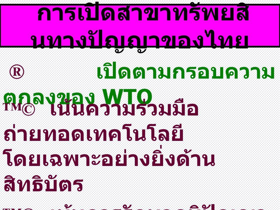การเปิดสาขาทรัพยสิ นทางปัญญาของไทย ® เปิดตามกรอบความ ตกลงของ WTO ™© เน้นความร่วมมือ ถ่ายทอดเทคโนโลยี โดยเฉพาะอย่างยิ่งด้าน สิทธิบัตร ™© เน้นการรักษาภูมิปัญญา ท้องถิ่น พันธุ์พืช และพันธุ์ สัตว์