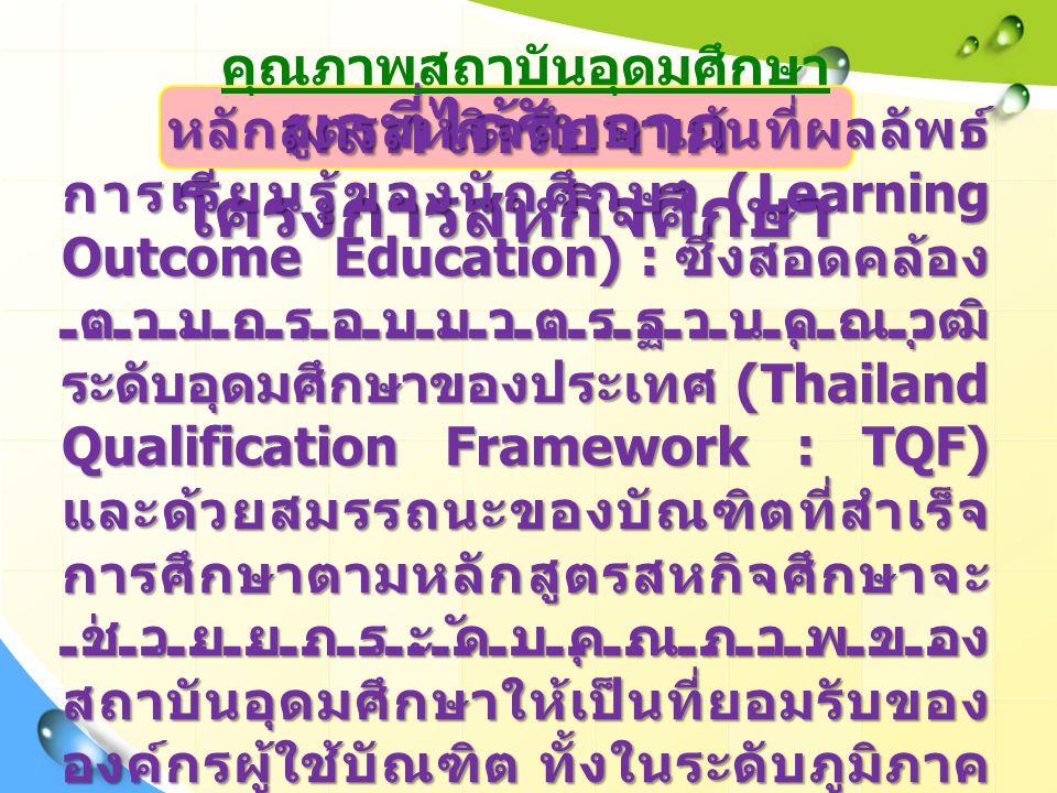 ผลที่ได้รับจาก โครงการสหกิจศึกษา คุณภาพสถาบันอุดมศึกษา หลักสูตรสหกิจศึกษาเน้นที่ผลลัพธ์ การเรียนรู้ของนักศึกษา (Learning Outcome Education) : ซึ่งสอดคล้อง ตามกรอบมาตรฐานคุณวุฒิ ระดับอุดมศึกษาของประเทศ (Thailand Qualification Framework : TQF) และด้วยสมรรถนะของบัณฑิตที่สำเร็จ การศึกษาตามหลักสูตรสหกิจศึกษาจะ ช่วยยกระดับคุณภาพของ สถาบันอุดมศึกษาให้เป็นที่ยอมรับของ องค์กรผู้ใช้บัณฑิต ทั้งในระดับภูมิภาค และระดับสากล