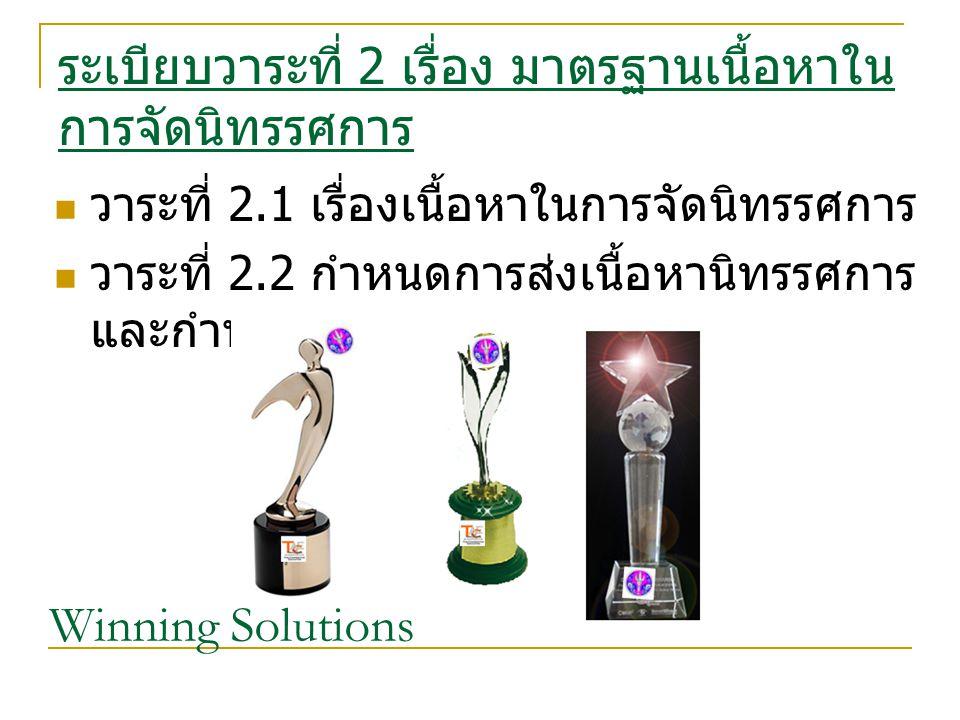 ระเบียบวาระที่ 2 เรื่อง มาตรฐานเนื้อหาใน การจัดนิทรรศการ วาระที่ 2.1 เรื่องเนื้อหาในการจัดนิทรรศการ วาระที่ 2.2 กำหนดการส่งเนื้อหานิทรรศการ และกำหนดส่งแก้ไข Winning Solutions