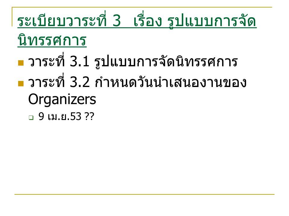 ระเบียบวาระที่ 3 เรื่อง รูปแบบการจัด นิทรรศการ วาระที่ 3.1 รูปแบบการจัดนิทรรศการ วาระที่ 3.2 กำหนดวันนำเสนองานของ Organizers  9 เม.