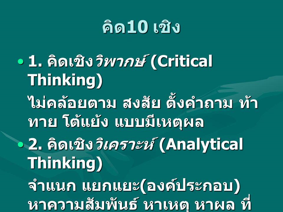คิด 10 เชิง 1. คิดเชิงวิพากษ์ (Critical Thinking)1. คิดเชิงวิพากษ์ (Critical Thinking) ไม่คล้อยตาม สงสัย ตั้งคำถาม ท้า ทาย โต้แย้ง แบบมีเหตุผล 2. คิดเ