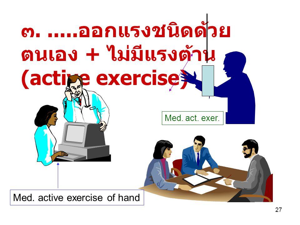26 ๒..... ชนิดใช้แรงของตนเองเอง โดยมีการใช้แรงจากภายนอก ช่วย (active assistive exercise) สำหรับผู้ที่มีกำลังน้อย เช่น ผู้ป่วยอัมพาต