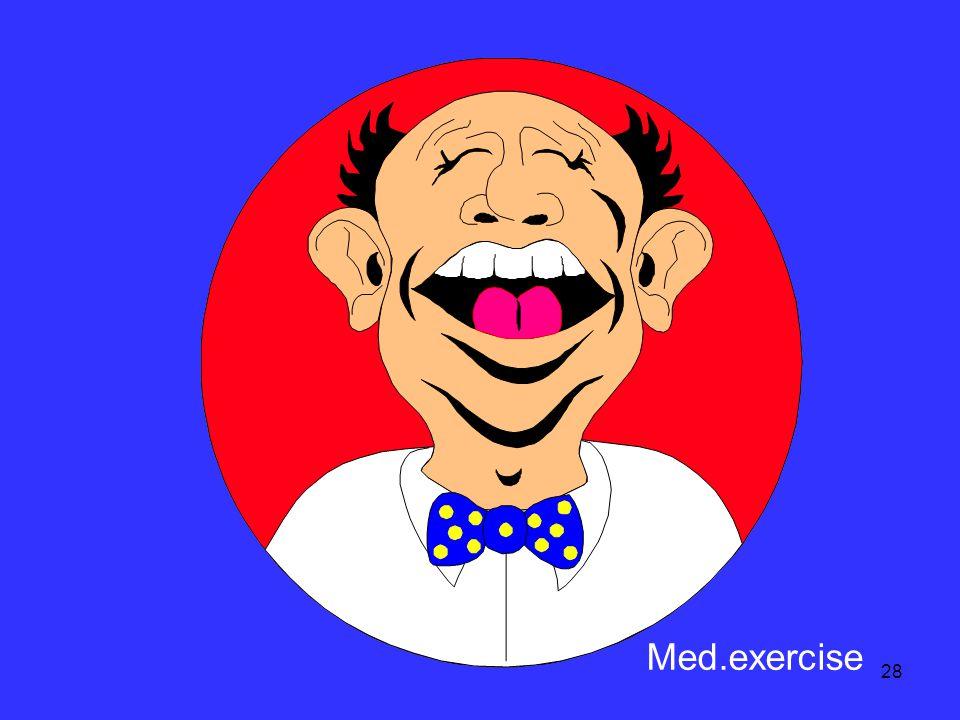 27 ๓...... ออกแรงชนิดด้วย ตนเอง + ไม่มีแรงต้าน (active exercise) Med. active exercise of hand Med. act. exer.