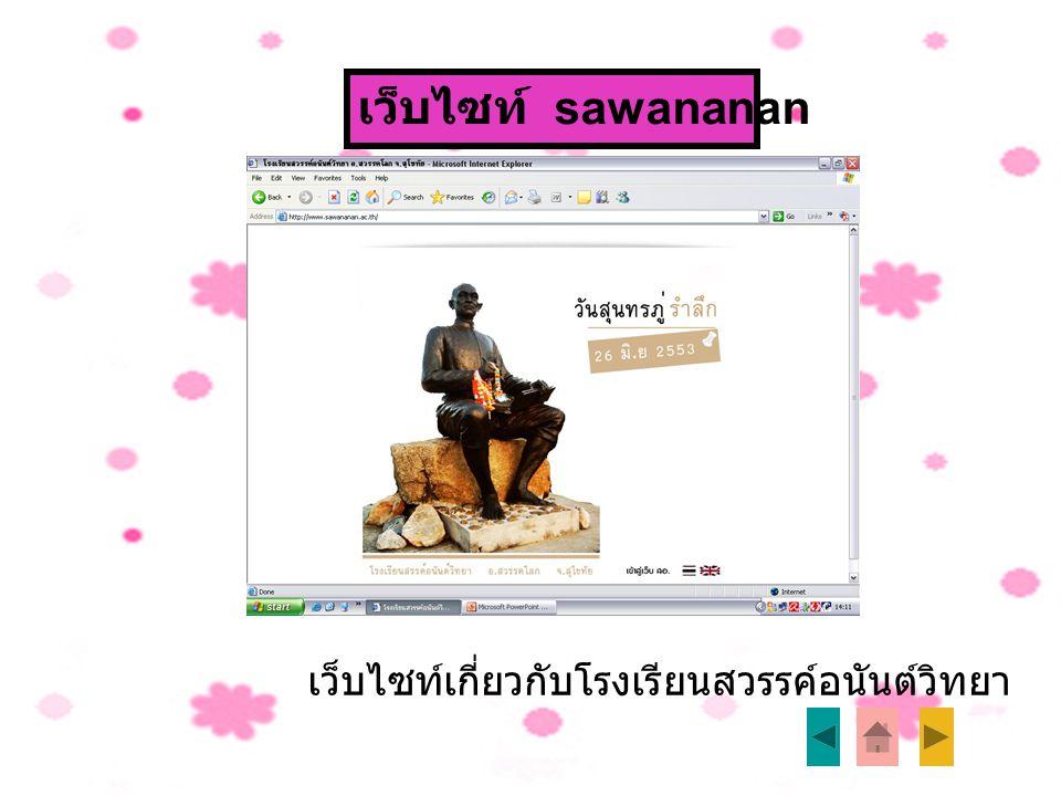 เว็บไซท์ sawananan เว็บไซท์เกี่ยวกับโรงเรียนสวรรค์อนันต์วิทยา