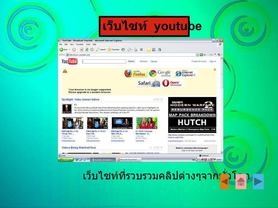 เว็บไซท์ youtube เว็บไซท์ที่รวบรวมคลิปต่างๆจากทั่วโลก