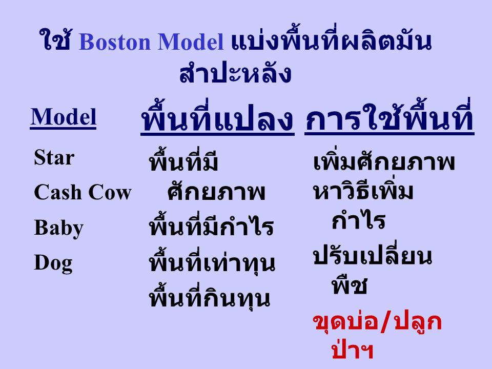 ใช้ Boston Model แบ่งพื้นที่ผลิตมัน สำปะหลัง Star Cash Cow Baby Dog Model พื้นที่มี ศักยภาพ พื้นที่มีกำไร พื้นที่เท่าทุน พื้นที่กินทุน พื้นที่แปลง เพิ่มศักยภาพ หาวิธีเพิ่ม กำไร ปรับเปลี่ยน พืช ขุดบ่อ / ปลูก ป่าฯ การใช้พื้นที่