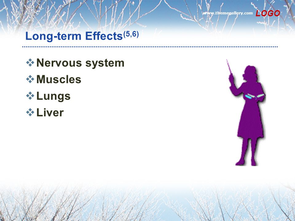 www.themegallery.com LOGO Long-term Effects (5,6)  Nervous system  Muscles  Lungs  Liver