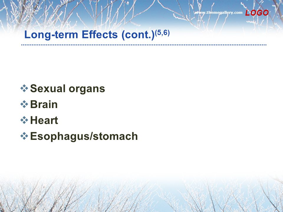 www.themegallery.com LOGO Long-term Effects (cont.) (5,6)  Sexual organs  Brain  Heart  Esophagus/stomach