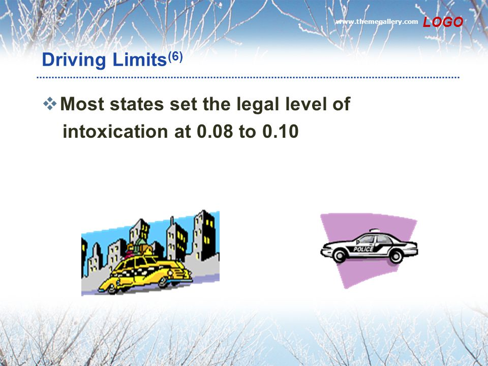 www.themegallery.com LOGO Driving Limits (6)  Most states set the legal level of intoxication at 0.08 to 0.10
