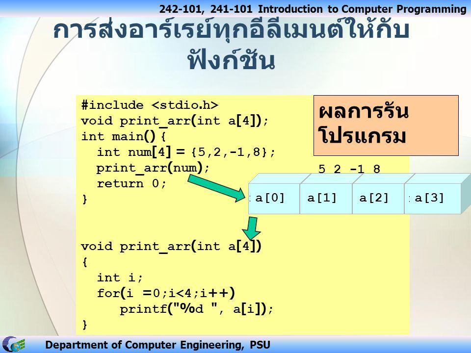 242-101, 241-101 Introduction to Computer Programming Department of Computer Engineering, PSU การส่งอาร์เรย์ทุกอีลีเมนต์ให้กับ ฟังก์ชัน #include void