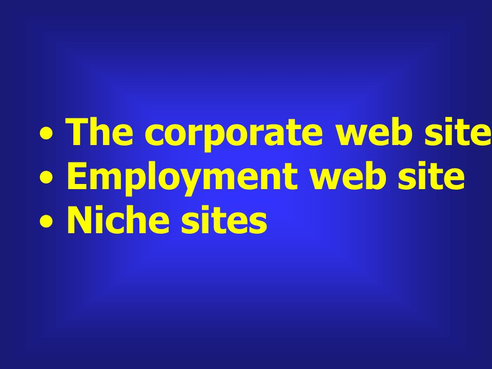 The corporate web site and homepage Employment web site Niche sites