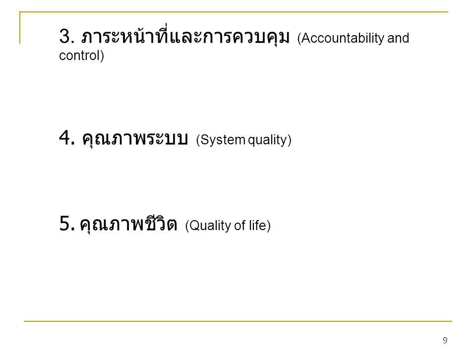 9 3. ภาระหน้าที่และการควบคุม (Accountability and control) 4. คุณภาพระบบ (System quality) 5. คุณภาพชีวิต (Quality of life)